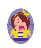 Crying, Unhappy and Devastated Avatar of Little Person Cartoon Character in Flat Vector Royalty Free Stock Images