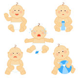 Crying vector baby toddler with milk bottle isolated on white background Stock Image