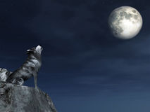 Crying Wolf. This image shows a generated crying wolf with moon vector illustration
