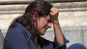 Crying Woman With Anguish And Pain. A young Spanish adult female stock video footage