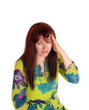Crying woman with bad headache. Royalty Free Stock Images