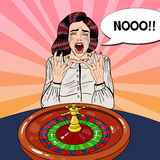 Crying Woman Behind Roulette Table. Casino Gambling. Pop Art Royalty Free Stock Images