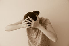 Crying woman. Crying depessed sad abuse young woman, dramatic portrait Stock Photo