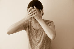 Crying woman. Crying depessed sad abuse young woman, dramatic portrait Royalty Free Stock Photos