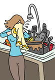 Crying woman doing dishes Stock Image