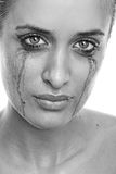 Crying woman with flowing make-up (monochrome) Royalty Free Stock Images