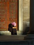 Crying woman with headscarf. In Istanbul, candid shot Stock Photos