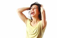 Crying woman isolated. Against white background Stock Photos