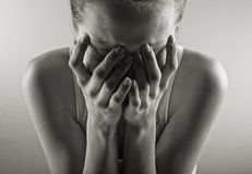 Crying woman portrait Stock Images