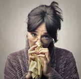 Crying woman. In a robe Royalty Free Stock Images