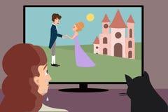 Crying woman watching romantic movie cartoon. Woman weping while watching romantic movie - funny vector cartoon illustration royalty free illustration