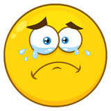 Crying Yellow Cartoon Smiley Face Character With Tears Stock Photography