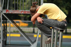 Crying young girl in park Royalty Free Stock Photo