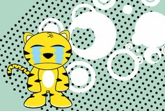 Crying Young tiger plush cartoon background Stock Images