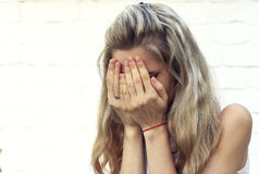Crying young woman. Royalty Free Stock Images