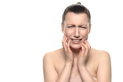Crying young woman Suffering From Toothache Royalty Free Stock Photos
