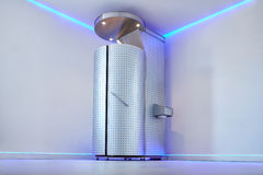 Cryo sauna for whole body cryotherapy. Treatment. Cryotherapy booth in cosmetology clinic. Whole body cryotherapy treatment for pain, performance, and recovery Stock Photography