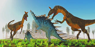 Cryolophosaurus attacks Kentrosaurus Stock Photo