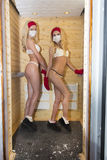 Cryotherapy. Girls are in the process cryotherapy in cryosauna Stock Photos