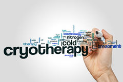 Cryotherapy word cloud concept on grey background Royalty Free Stock Photography