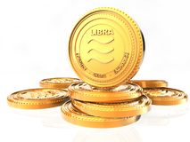 Crypt ο Libra νόμισμα νομίσματος Χρυσό νόμισμα Libra, τρισδιάστατη απόδοση απομονωμένος στο άσπρο υπόβαθρο ελεύθερη απεικόνιση δικαιώματος