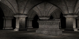 Crypt. 3D rendered scene of dark crypt with tomb Royalty Free Stock Photography