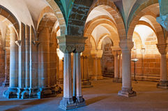 Crypt Columns. Crypt of the Praemonstratensian convent in Doksany (Czech Republic), that was founded in 1144-1145 by Gertrude, the wife of the Czech king stock images