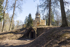 The crypt of Count Adolf Polje near St. Peter and Paul Church in Pargolovo. Shuvalov park. St. Petersburg. Stock Image