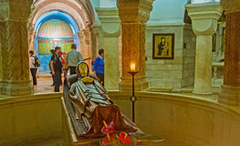 The Crypt of Dormition Church. JERUSALEM, ISRAEL - FEBRUARY 16, 2016:  The figure of the Dormition of Virgin Mary in the center of the crypt in Dormition Church Royalty Free Stock Photography