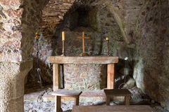 Crypt inside a castle. St. Mary's Crypt inside Mont Orgueil Castle in Gorey, Jersey, UK stock photos