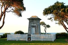 Crypt by the sea. Crypt monument at Point Nepean Quarantine Station, Point Nepean, Mornington Peninsula, Victoria, Australia royalty free stock photography