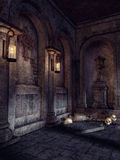 Crypt with skulls and lanterns Stock Image