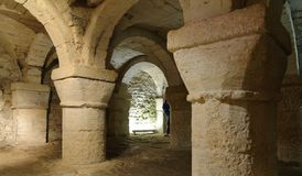 The Crypt Of St George`s Chapel. The 900 year old crypt is the only surviving remains of St. George's Chapel oxford castle, oxford, england, uk Stock Photo