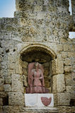 Crypt and statue  in Rhodes Royalty Free Stock Image