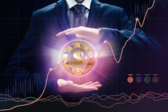 Crypto ανταλλαγής οι έννοιες νομίσματος, οι πωλήσεις και η αγορά, ρυθμός ανάπτυξης, δάγκωσαν το νόμισμα ηλεκτρονικού εμπορίου Στοκ Εικόνα