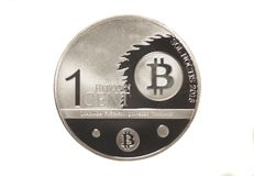 Crypto ενός σεντ bitcoin νόμισμα Στοκ Εικόνες