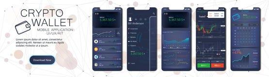 Crypto κινητό app πορτοφολιών πρότυπο ελεύθερη απεικόνιση δικαιώματος