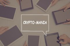 Crypto-ΜΑΝΙΑ επιχειρησιακή έννοια ΕΝΝΟΙΑΣ στοκ εικόνα με δικαίωμα ελεύθερης χρήσης