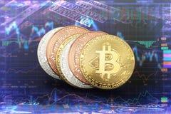 Crypto νομίσματα νομίσματος bitcoin στα τραπεζογραμμάτια και τη γραφική παράσταση μεριδίου backg Στοκ Φωτογραφία