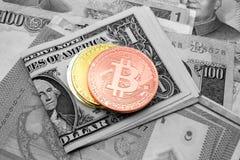 Crypto νομίσματα νομίσματος bitcoin στα τραπεζογραμμάτια, ψηφιακό εικονικό mone Στοκ εικόνες με δικαίωμα ελεύθερης χρήσης