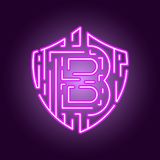 Crypto νομίσματος Bitcoin ψηφιακό νόμισμα Η έννοια της ασφάλειας του crypto νομίσματος Λογότυπο ύφους νέου απεικόνιση αποθεμάτων