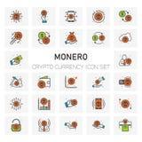 Crypto νομισμάτων MONERO εικονίδια νομίσματος καθορισμένα Στοκ φωτογραφία με δικαίωμα ελεύθερης χρήσης