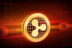 Crypto νόμισμα Αλυσίδα φραγμών κυμάτωση τρισδιάστατο isometric φυσικό χρυσό νόμισμα κυματισμών με την αλυσίδα wireframe Έννοια Bl διανυσματική απεικόνιση