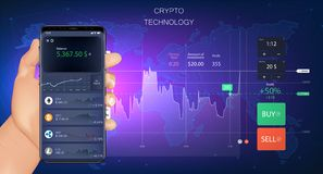 Crypto σε απευθείας σύνδεση εμπόριο Έμβλημα Forex ελεύθερη απεικόνιση δικαιώματος