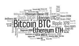 Crypto σύννεφο λέξης νομισμάτων Στοκ φωτογραφίες με δικαίωμα ελεύθερης χρήσης