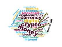 Crypto σύννεφων λέξεων blockchain ψηφιακή απεικόνιση νομίσματος διανυσματική απεικόνιση