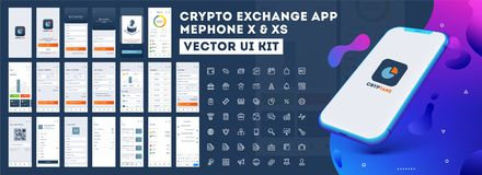 Crypto App UI Kit for responsive mobile app or website with different GUI. Crypto App UI Kit for responsive mobile app or website with different GUI layout royalty free illustration