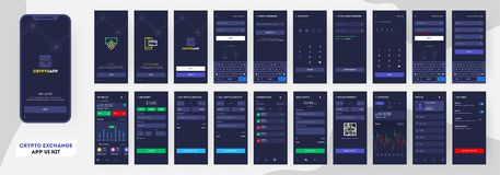 Crypto App UI Kit for responsive mobile app or website. Crypto App UI Kit for responsive mobile app or website with different GUI layout including login, Create royalty free illustration