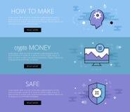 Crypto bannière de sécurité de devise Photo stock