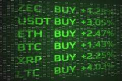 Crypto begrepp för köp för valutamarknad envist Dubbel exponering av digitala mynt prissätter upp och bakgrund för binära data vektor illustrationer